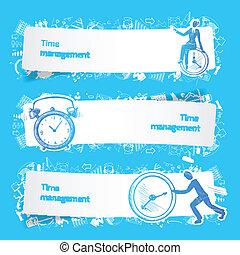 Time management set banners sketch