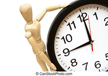 Time Management - A mannequin and clock are on white to...