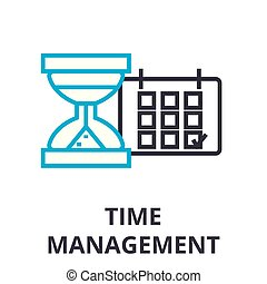 time management thin line icon, sign, symbol, illustation, linear concept, vector