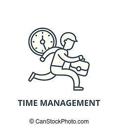 Time management vector line icon, linear concept, outline sign, symbol