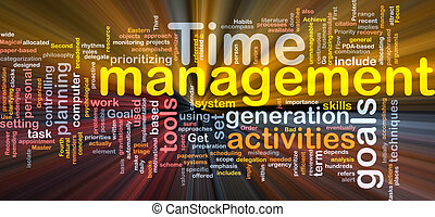 Time management word cloud glowing - Word cloud concept ...