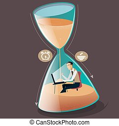 Time managment concept vector illustration. Businessman is sinking in hourglass. Project deadline.