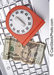Time, Money, and the Internet Conceptual Image