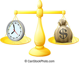 Time money balance scales concept illustration with a clock on one side and A sack of money with a dollar sign on the other