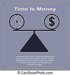 Time Money, conceptual illustration, simple design