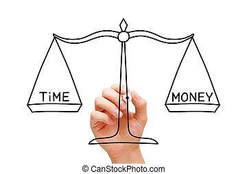 Hand drawing Time Money scale concept with black marker on transparent wipe board isolated on white.