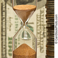Time-money,hourglass and money