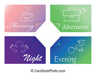time of day - four colored cards with the times of day