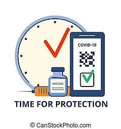 Time of vaccination against covid-19. Virus protection. Testing for antibodies. QR code on a smartphone with a test result. Isolated concept on white background. Vector