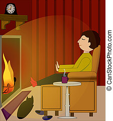 Time Off - Cozy winter night scene with a man relaxing...