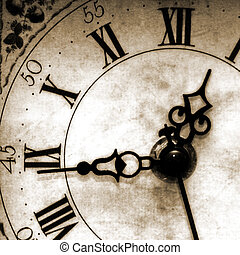 Old looking clock face in sepia