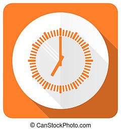 time orange flat icon clock sign