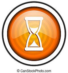 time orange glossy icon isolated on white background