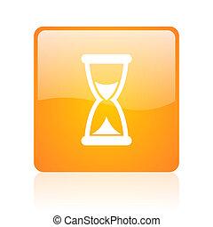 time orange square glossy web icon