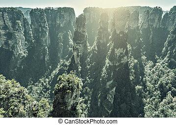 time., parque, zhangjiajie, amanhecer, floresta