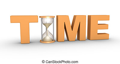 Time passes - TIME word with an hourglass included in the...