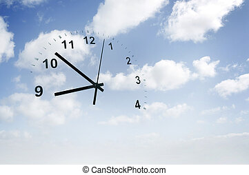 Time passing - Clock face in blue sky