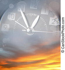 Time passing - Clock face in bright sky