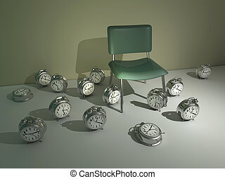 Time passing concept - chair surrounded by a lot of alarm...