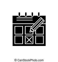 Time planning black icon, vector sign on isolated background. Time planning concept symbol, illustration