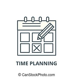 Time planning vector line icon, linear concept, outline sign, symbol