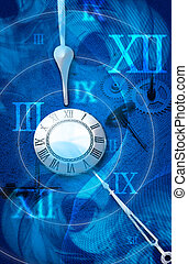 time - pocket watch in a blue circular background