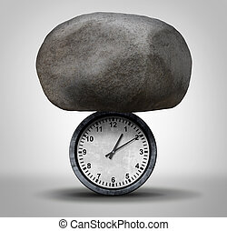 Time Pressure business concept as a huge rock pressing down ...