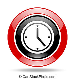 time red and black web glossy round icon - time round glossy...