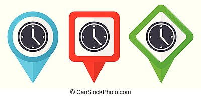 Time red, blue and green vector pointers icons. Set of ...