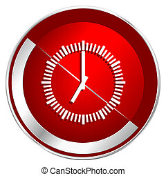 Time red web icon. Metal shine silver chrome border round ...