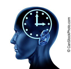 Time schedule symbol with a human head and clock icon as a...