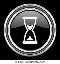 time silver chrome metallic round web icon on black background