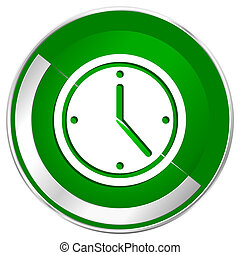 Time silver metallic border green web icon for mobile apps ...