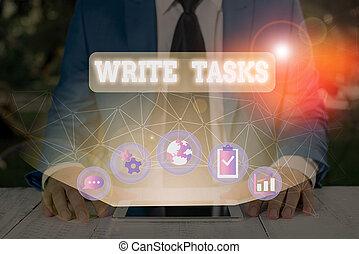time., souvent, écriture, concept, morceau, texte, être, fini, tasks., dans, écrire, signification, travail, certain, assigné
