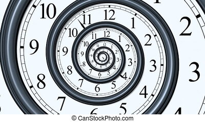 Time Spiral - 3D concept with analog wall clock