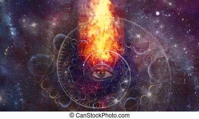 Time spiral and burning all seeing eye in space