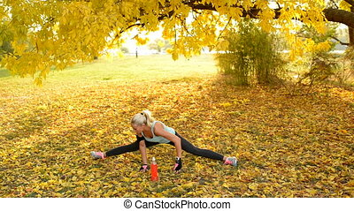 Attractive sporty blonde making split and exercising on the ground in the public park covered with a yellow leaves.