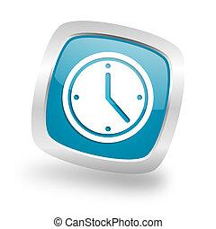 time square blue glossy chrome silver metallic web icon - ...