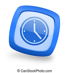 time square glossy blue web design icon - time blue glossy ...