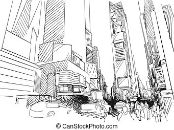 Time Square, New York City. Hand-drawn Vector Outline Sketch
