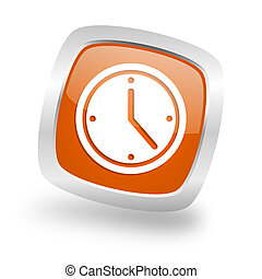 time square orange glossy chrome silver metallic web icon - ...