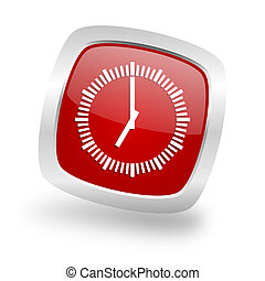 time square red glossy chrome silver metallic web icon - ...