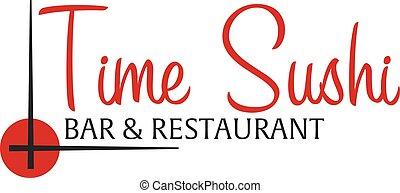 Time sushi logo template design with chopstick. Bar, restaurant. Vector illustration.