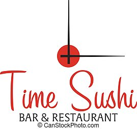 Time sushi logo template design with chopstick. Bar, restaurant. Vector illustration.