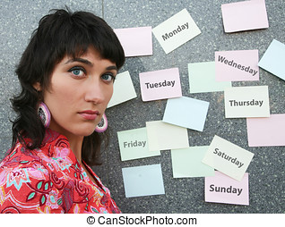 Time-table - Young woman thinking of her week schedule