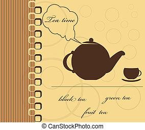 time., thé, illustration, vecteur