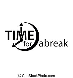 Time to a break. Flat vector alarm clock icon on white background.