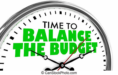 Time to Balance the Budget Clock 3d Illustration