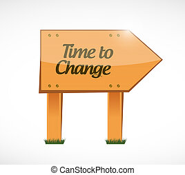 time to change wood sign illustration