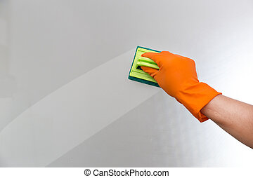 time to Cleaning Service Worker quality professional made Home cleaning concept.